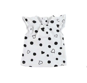 Hearts and polka dots cotton t-shirt WHITE