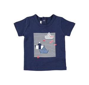 100% cotton short-sleeved Summer t-shirt with small boats for baby boy BLUE
