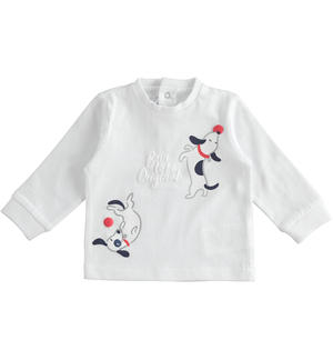 100% cotton long sleeves crewneck t-shirt for baby boy WHITE