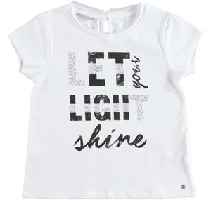 Cotton t-shirt with laminated print for girls WHITE