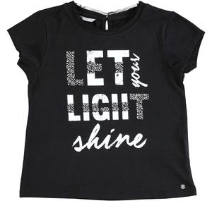 Cotton t-shirt with laminated print for girls BLACK