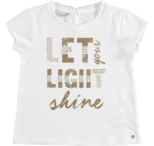 Cotton t-shirt with laminated print for girls CREAM