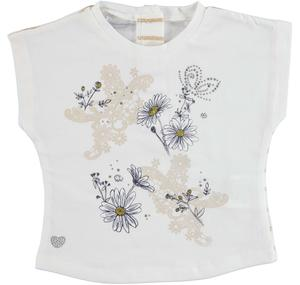 Stretch cotton t-shirt with rhinestone butterflies and flowers for girls CREAM