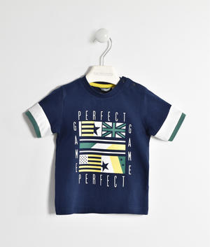 100% cotton jersey t-shirt with flags BLUE