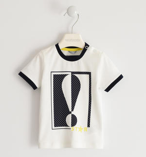 100% cotton jersey T-shirt with exclamation mark CREAM