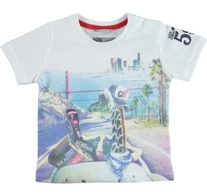100% cotton jersey t-shirt with American skyline WHITE