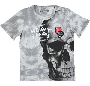 100% cotton jersey t-shirt with maxi skull print WHITE