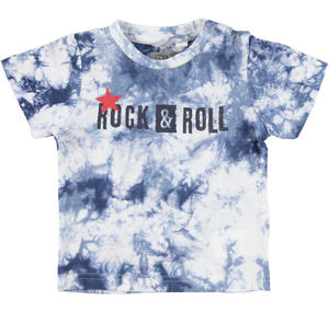 100% cotton jersey tie-dyed t-shirt BLUE