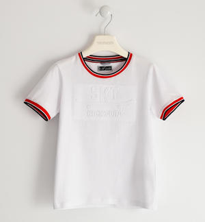 Jersey T-shirt with embossed graphics WHITE