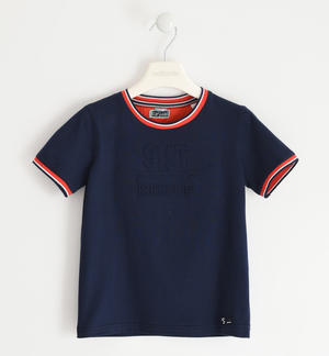 Jersey T-shirt with embossed graphics BLUE