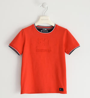 Jersey T-shirt with embossed graphics RED
