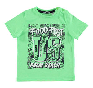 T-shirt in jersey di cotone con stampa frontale VERDE