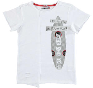 'Rap' style 100% flamed cotton jersey t-shirt WHITE