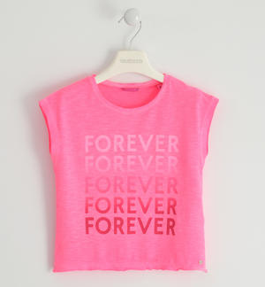 "T-shirt in jersey fluo con stampa ""Forever"" FUCSIA"