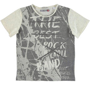 Streaked jersey t-shirt with big rock 'n roll print CREAM