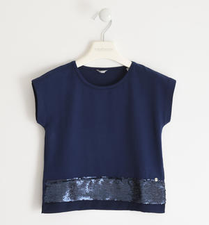 Stretch jersey T-shirt with reversible sequin band BLUE