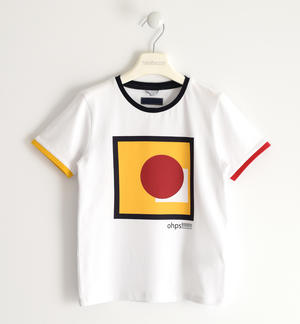 Stretch jersey T-shirt with coloured rib WHITE