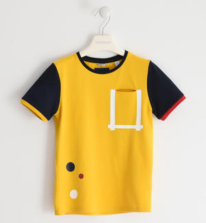 Stretch jersey T-shirt with coloured rib YELLOW