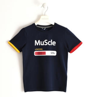 Stretch jersey T-shirt with coloured rib BLUE