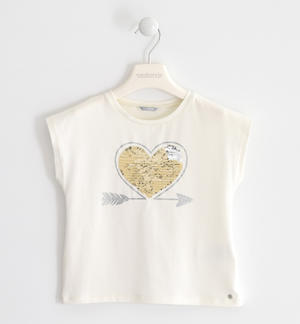 Stretch jersey T-shirt with heart of reversible sequins CREAM
