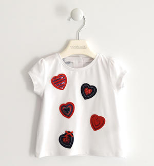 Stretch jersey T-shirt with applied hearts WHITE