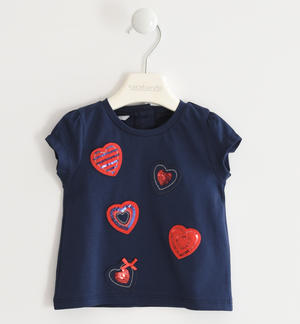 Stretch jersey T-shirt with applied hearts BLUE