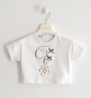 Stretch jersey T-shirt with question mark WHITE