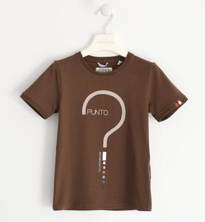 T-shirt in jersey stretch con punto interrogativo MARRONE