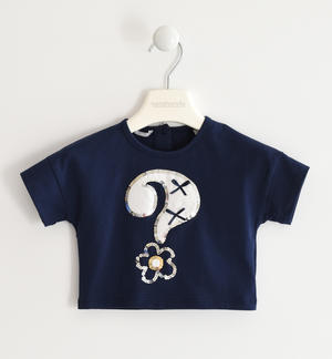 Stretch jersey T-shirt with question mark BLUE