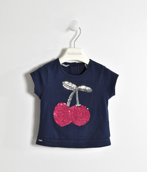 T-shirt in jersey stretch con ricamo paillettes BLU