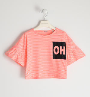 Stretch jersey T-shirt with glitter print PINK