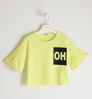 Stretch jersey T-shirt with glitter print YELLOW
