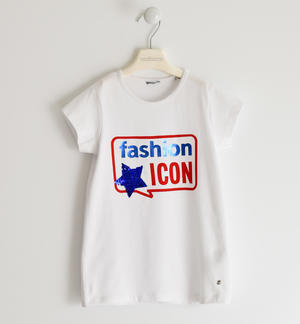Stretch jersey T-shirt with sequin star WHITE