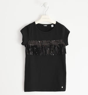 T-shirt in jersey stretch con tape di tulle e paillettes NERO