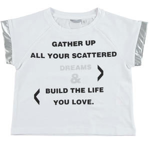 Stretch cotton jersey t-shirt decorated by a printed phrase on the front WHITE