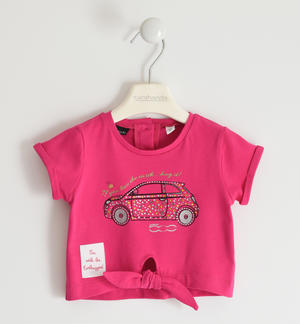 "Organic cotton stretch jersey T-shirt with multicolour rhinestones ""Sarabanda interprets The New 500"" FUCHSIA"