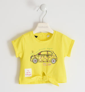 "Organic cotton stretch jersey T-shirt with multicolour rhinestones ""Sarabanda interprets The New 500"" YELLOW"