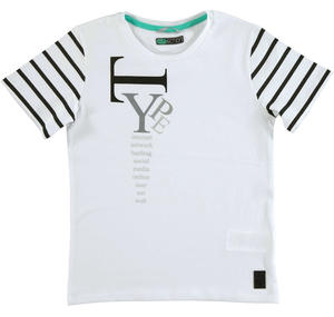 Cotton jersey t-shirt with round neck WHITE