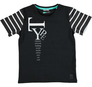 Cotton jersey t-shirt with round neck BLACK