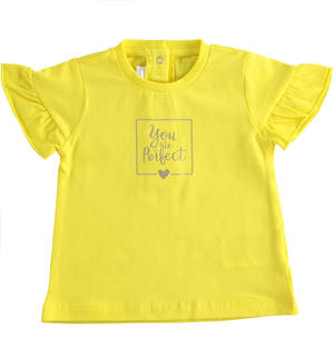 "T-shirt in jersey stretch ""You are perfect"" GIALLO"
