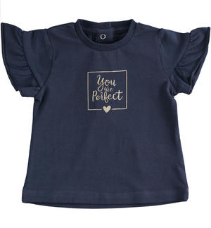 "T-shirt in jersey stretch ""You are perfect"" BLU"