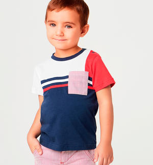 Boy's stretch cotton short-sleeved t-shirt with macro stripes BLUE
