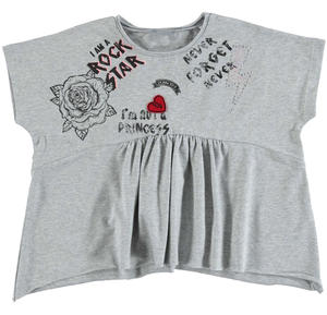 Oversized t-shirt with cropped sleeves for girls GREY