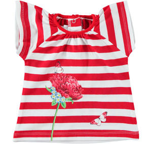 Striped short sleeve t-shirt in cotton with flower and butterfly for baby girl RED