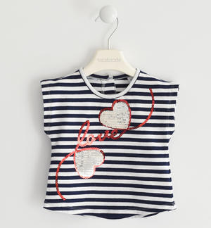 Striped T-shirt with sequin hearts BLUE
