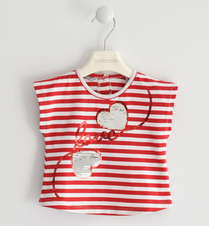 Striped T-shirt with sequin hearts RED