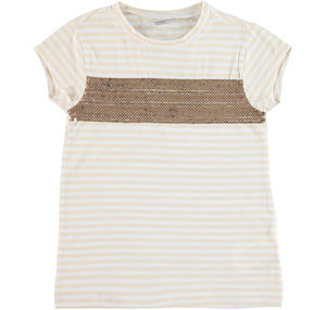 Striped yarn-dyed cotton t-shirt with sequins YELLOW