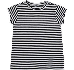 Striped yarn-dyed cotton t-shirt with sequins BLACK