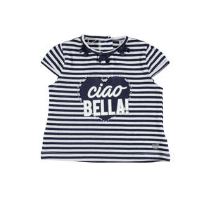 Striped t-shirt in yarn-dyed stretch cotton for girls BLUE