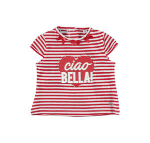 Striped t-shirt in yarn-dyed stretch cotton for girls RED